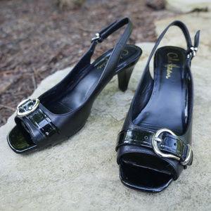 Cole Haan black buckle sling back heel shoes Nike